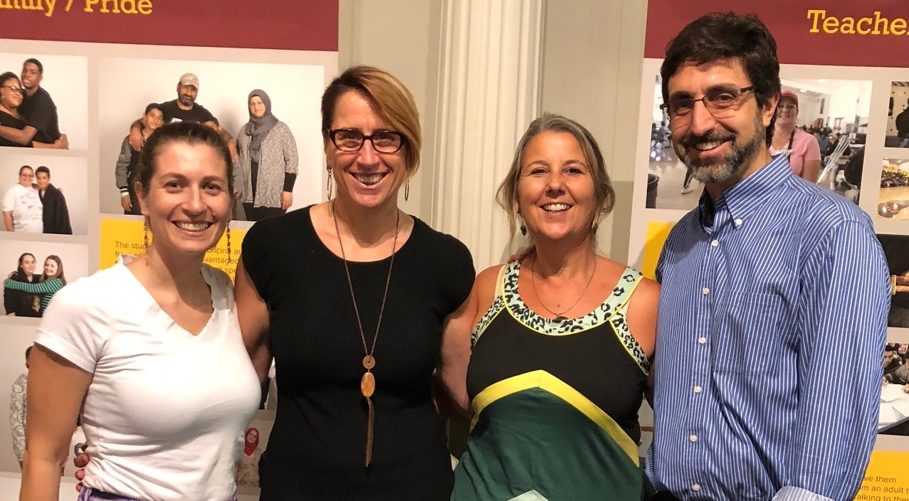 CDGG alumnae Tara Zagofsky, jesikah maria ross, and Deb Marois along with Jonathan London at jesikah's multi-media exhibit at the California History Museum about a year at Sacramento's Encina High School.