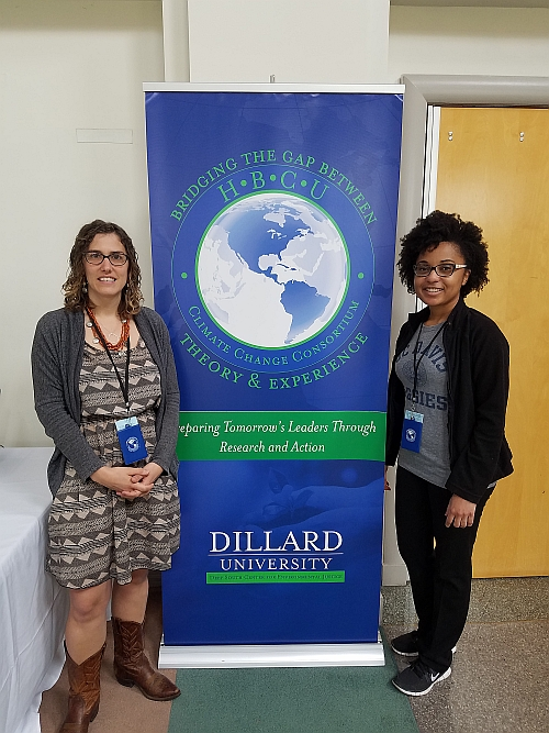 "Shani Alford (right) and Sally Neas attended ""Bridging the Gap between Theory and Experience: Historically Black Colleges and Universities Climate Change Consortium"" held at Dillard University in March 2017 as part of the CDGG's effort to recruit a diverse range of applicants."